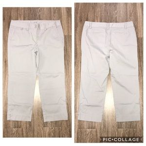 LOFT Outlet Gray Crop Chino Pants, Size 10